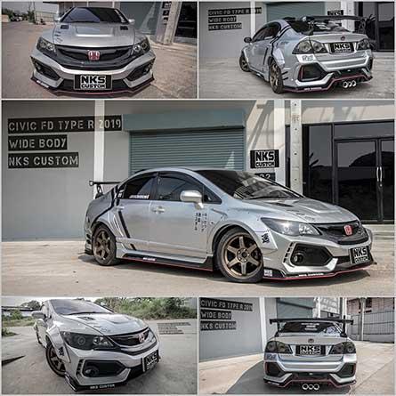 ชุดแต่งสเกิร์ตรถฮอนด้า ซีวิคเอฟดี Civic FD นางฟ้า Type R 2020 วายบอดี้โป่งเย็บ