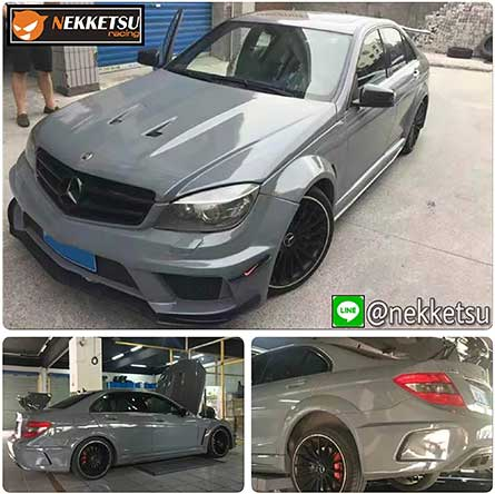 ชุดแต่ง สเกิร์ตรอบคันรถ Mercedes Benz W204 AMG C63 Sedan.