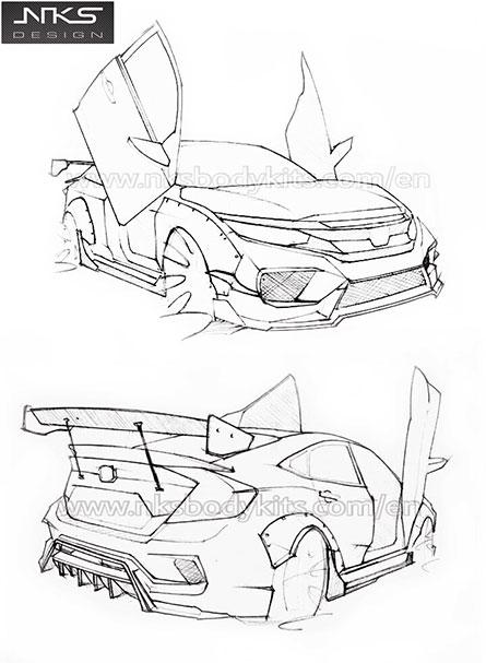 ชุดแต่งรถ Civic FC ทรง Type X Wide Body