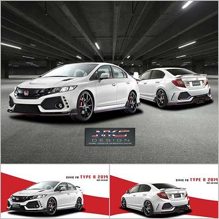 ชุดแต่ง สเกิร์ตรอบคัน Honda Civic FB 2012 ทรง Type R19